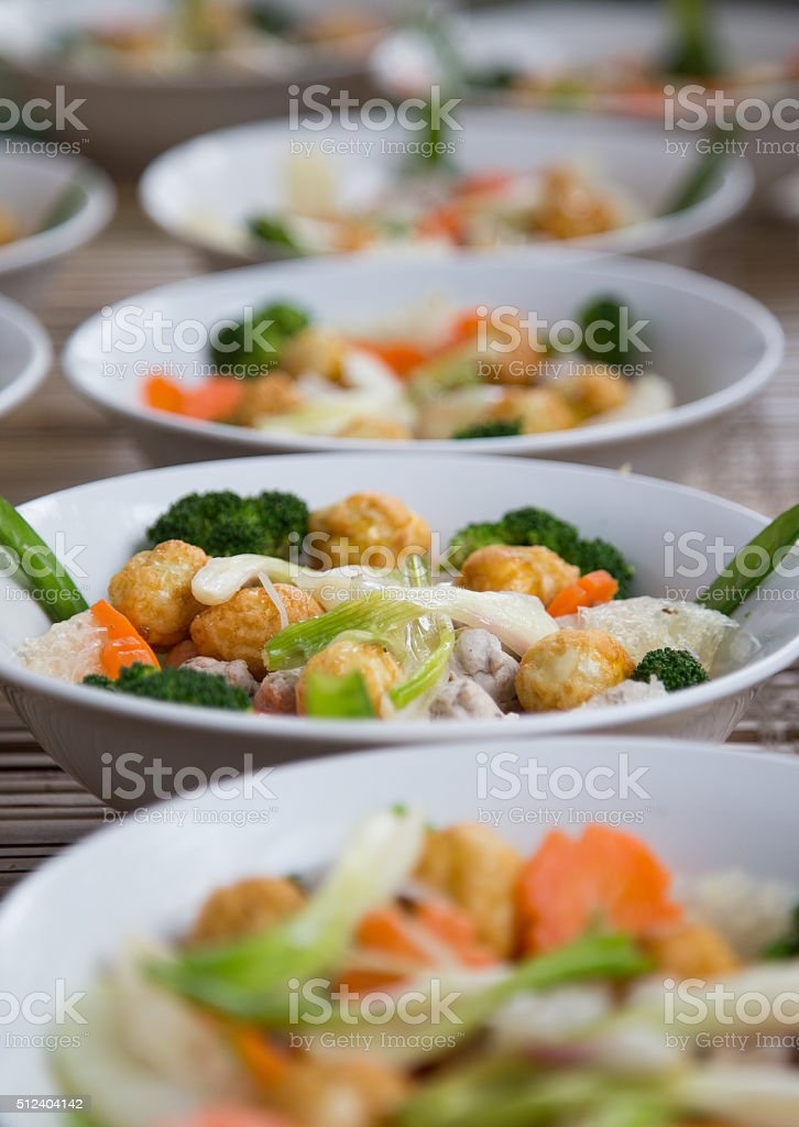 Vietnamese traditional bowl of mixed food stock photo