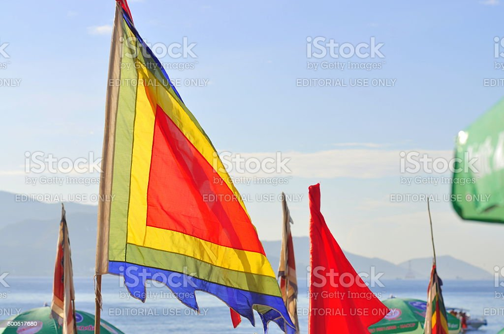 Vietnamese traditional flags are hanging on stock photo