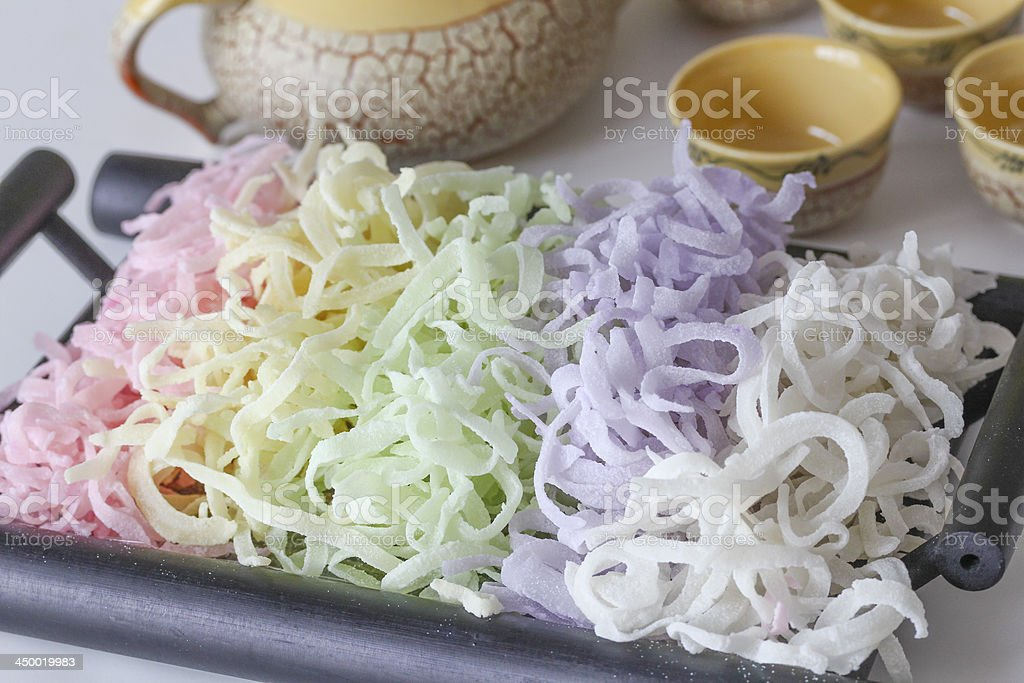 Vietnamese Traditional Food: Colored Coconut Marmalade stock photo
