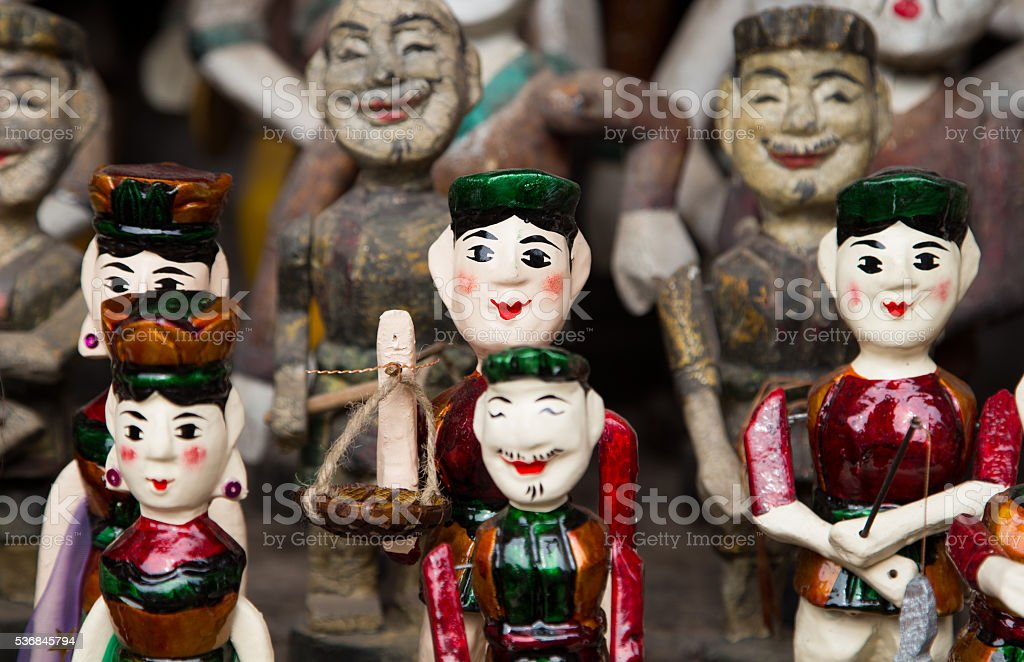 Vietnamese traditional water puppets of the theater stock photo