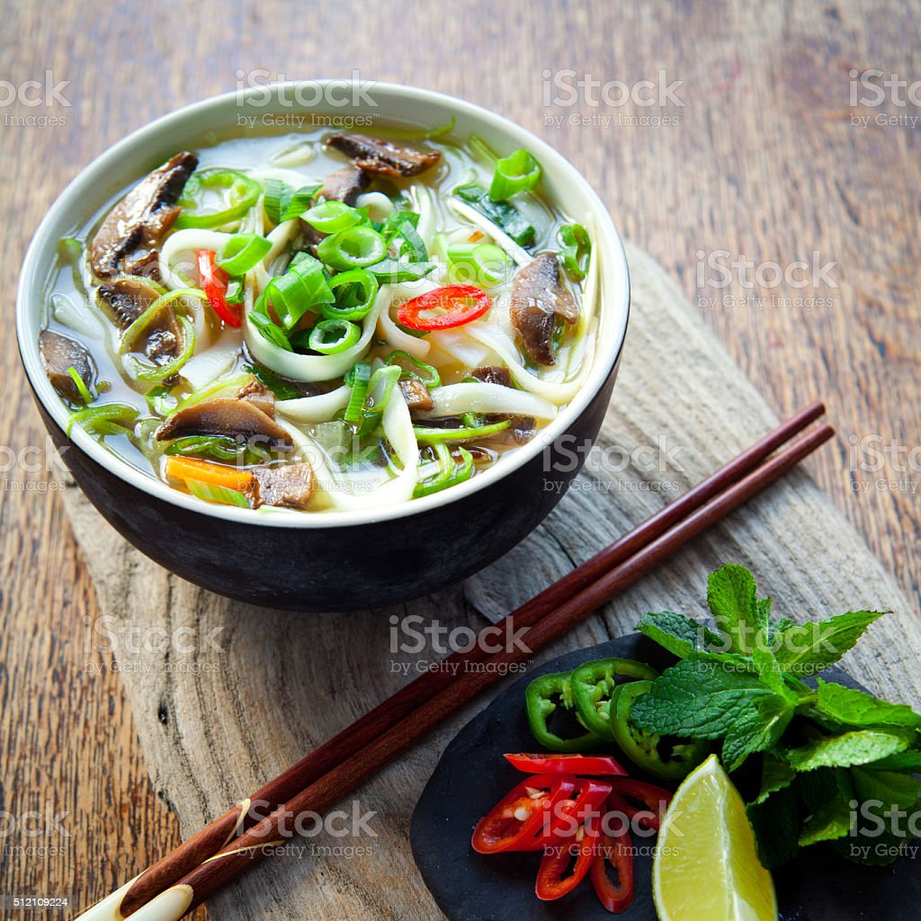 Vietnamese vegan vegetarian noodle soup -  pho tom . stock photo