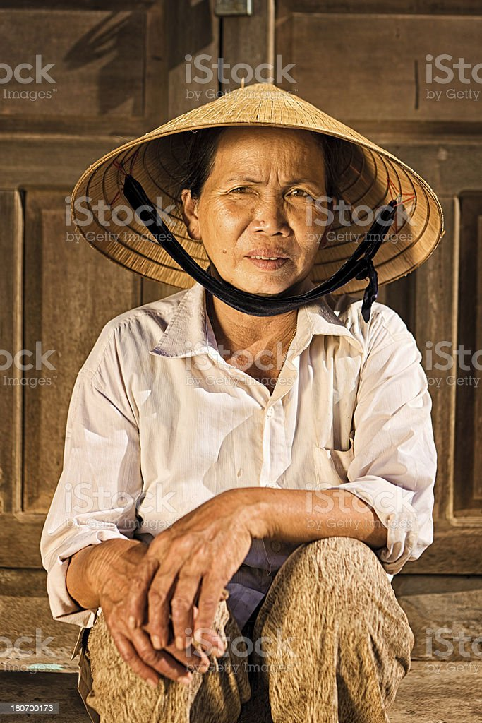 Vietnamese vegetable seller royalty-free stock photo