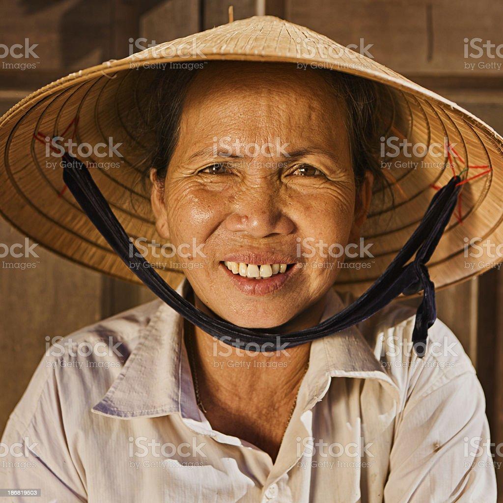 Vietnamese vegetable seller stock photo