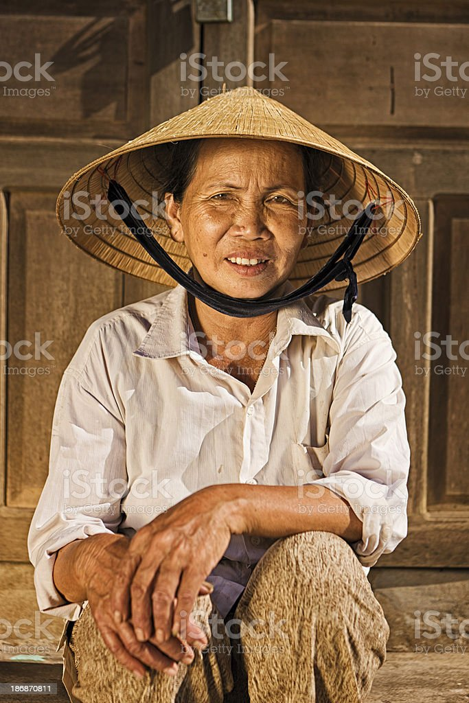 Vietnamese vegetable seller royalty-free stock photo