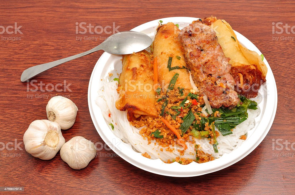 Vietnamese Vermicelli with grilled pork or Bun Thit Nuong stock photo