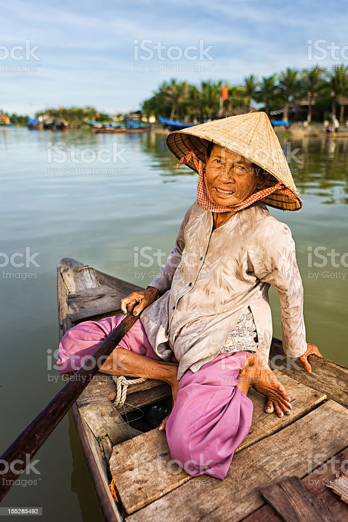 Vietnamese water taxi in Hoi An royalty-free stock photo