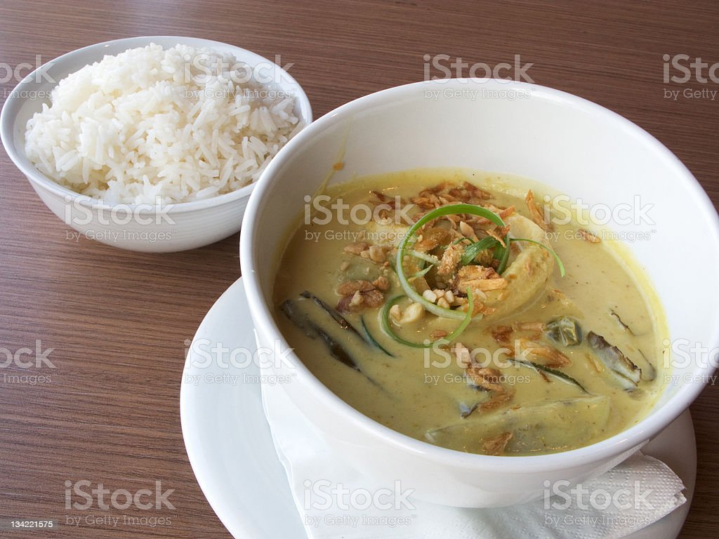 Vietnamese white cooked chicken in lemongrass green curry stock photo