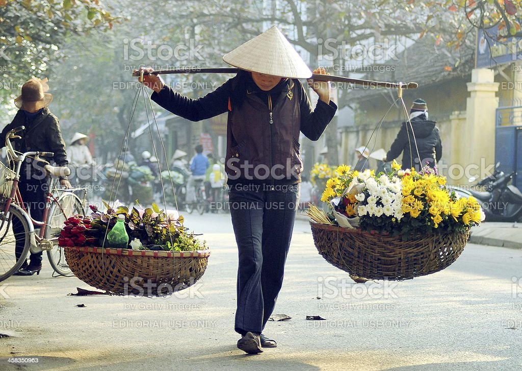 Vietnamese woman carrying flower for sale in Ha Noi, Vietnam. stock photo
