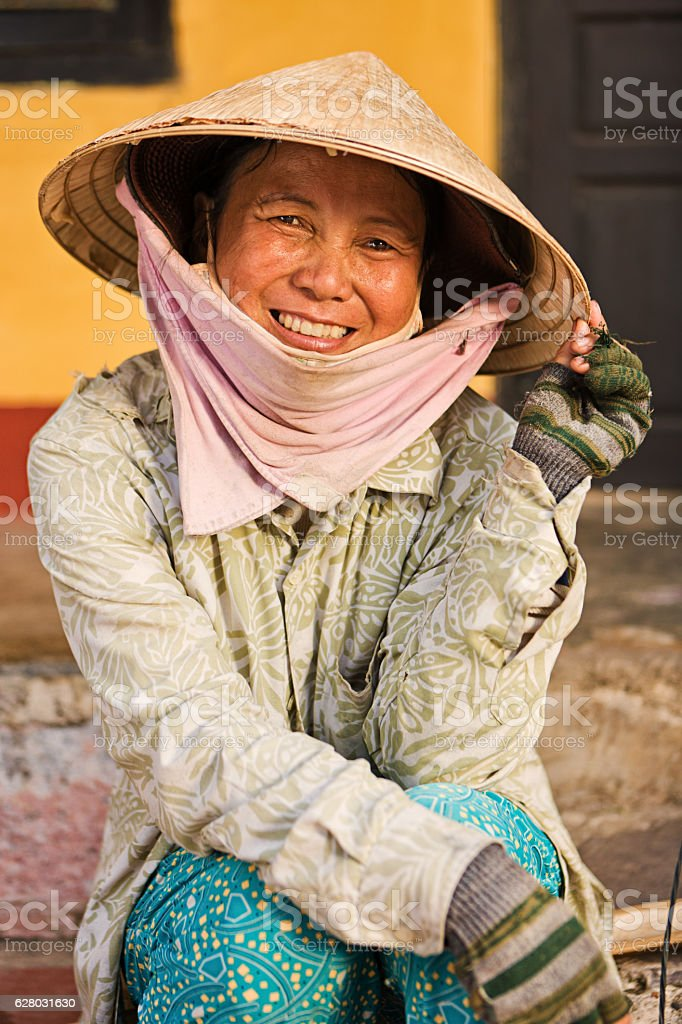 Vietnamese woman in Hoi An town stock photo