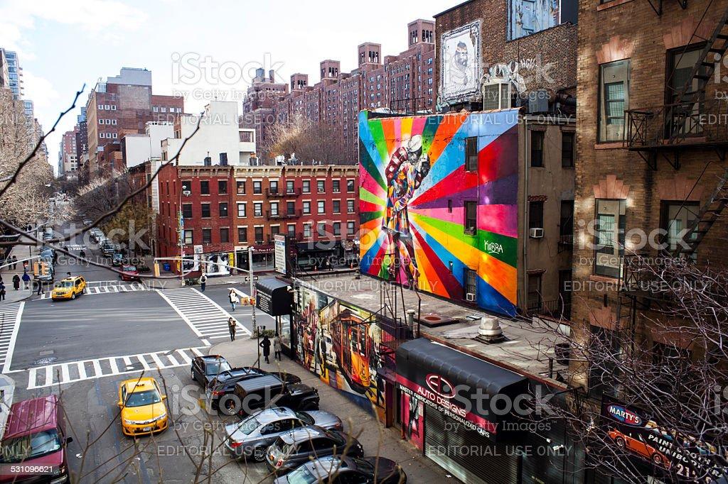 View 25th street 10th Ave. Eduardo Kobra AI Weiwei Street Art stock photo