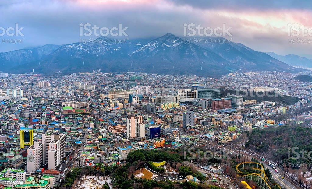 View above Korean city stock photo