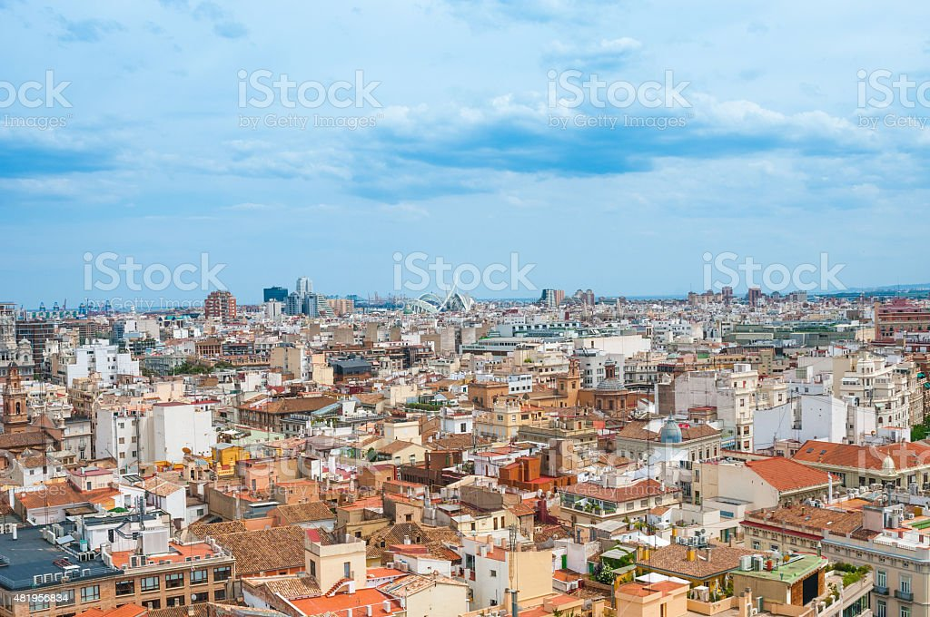 View above of Valencia, Spain stock photo