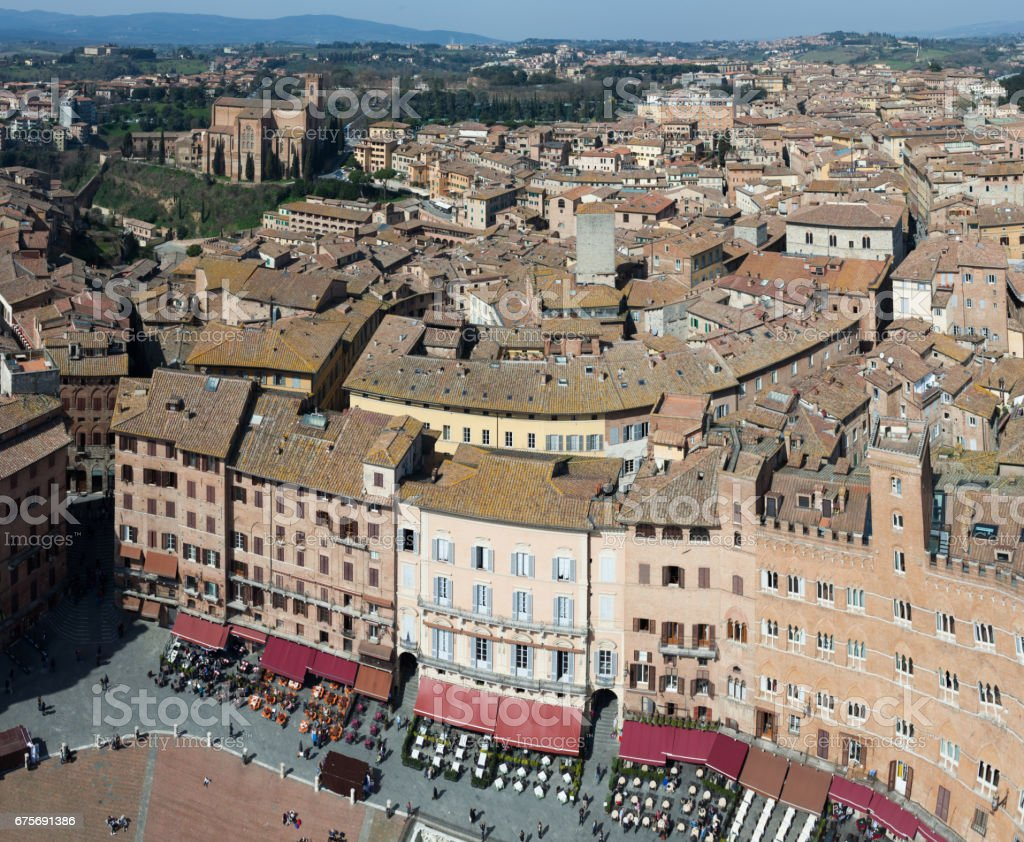 View Above Siena From Torre Del Mangia stock photo