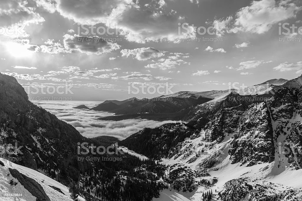 View Above the Clouds in Rocky Mountain National Park, Colorado stock photo
