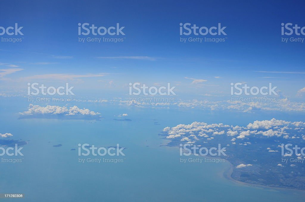 View above the earth and clouds below royalty-free stock photo