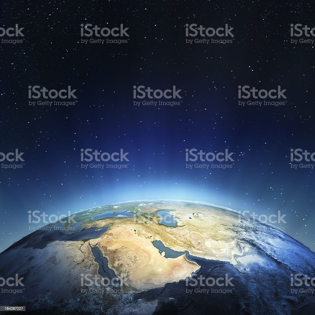 View above the Earth with sun rising stock photo