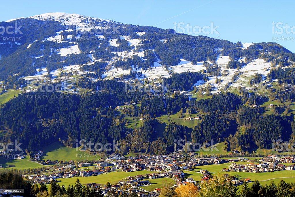 View above Zell am Ziller - Zillertal, Austria stock photo
