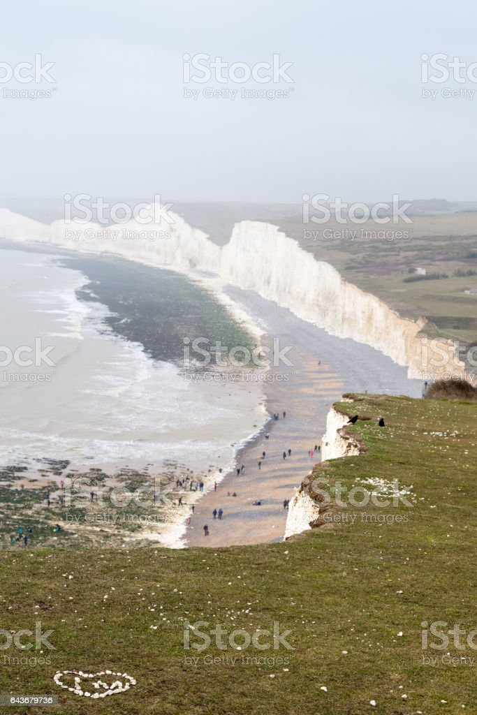 View across Birling Gap on a misty day stock photo