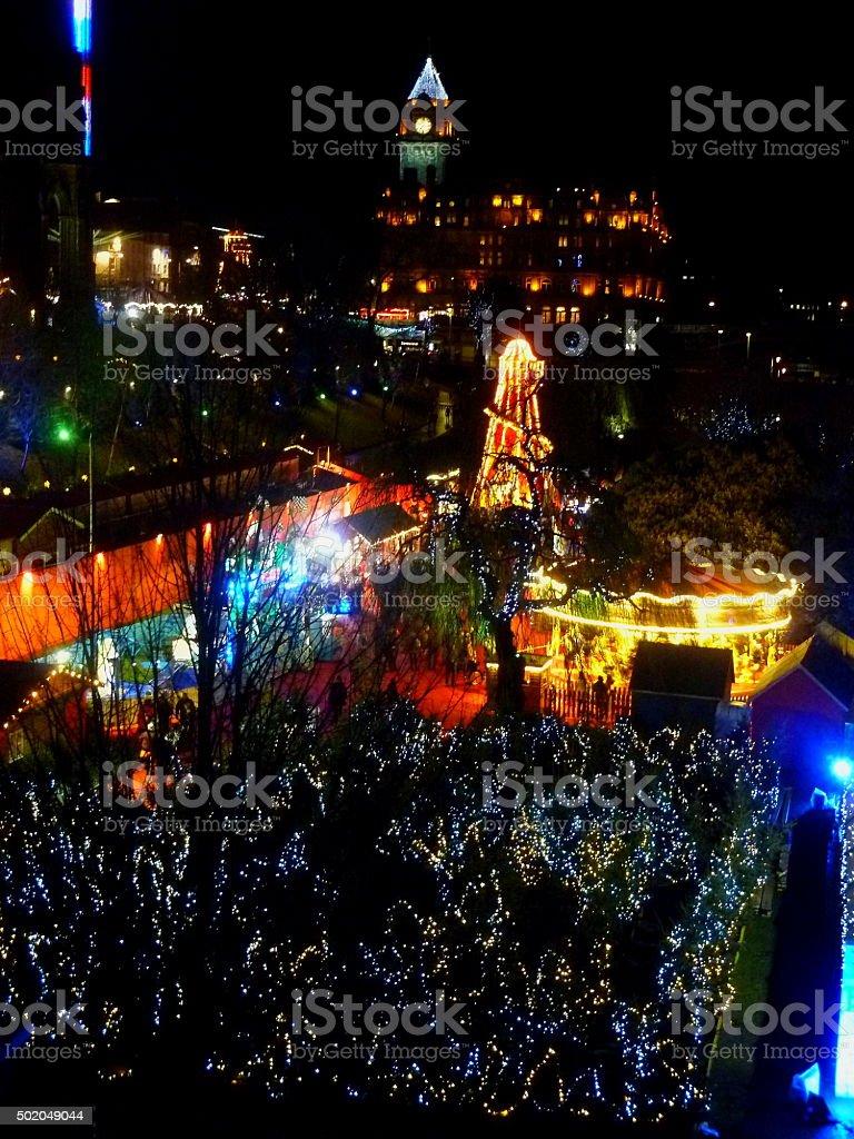 View Across Edinburgh City With Festive Lights stock photo