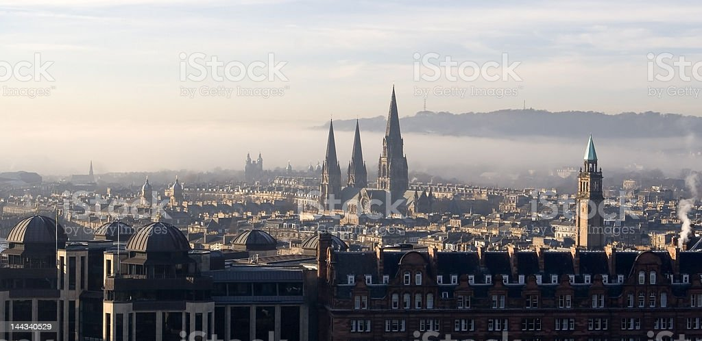 View across Edinburgh, Scotland with Princes Street royalty-free stock photo