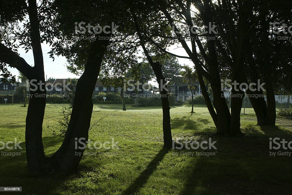 View across English Country Club early morning royalty-free stock photo