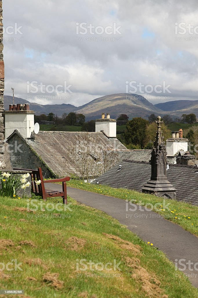 view across Lake District from Hawkshead Church stock photo