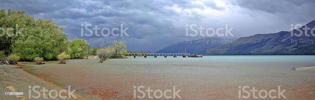 View across Lake Wakatipu from Glenorchy, New Zealand stock photo