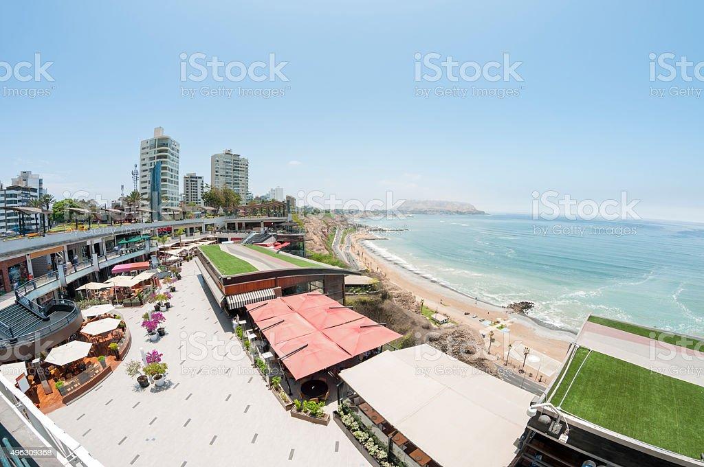 View Across Larcomar Shopping Centre In Lima, Peru stock photo