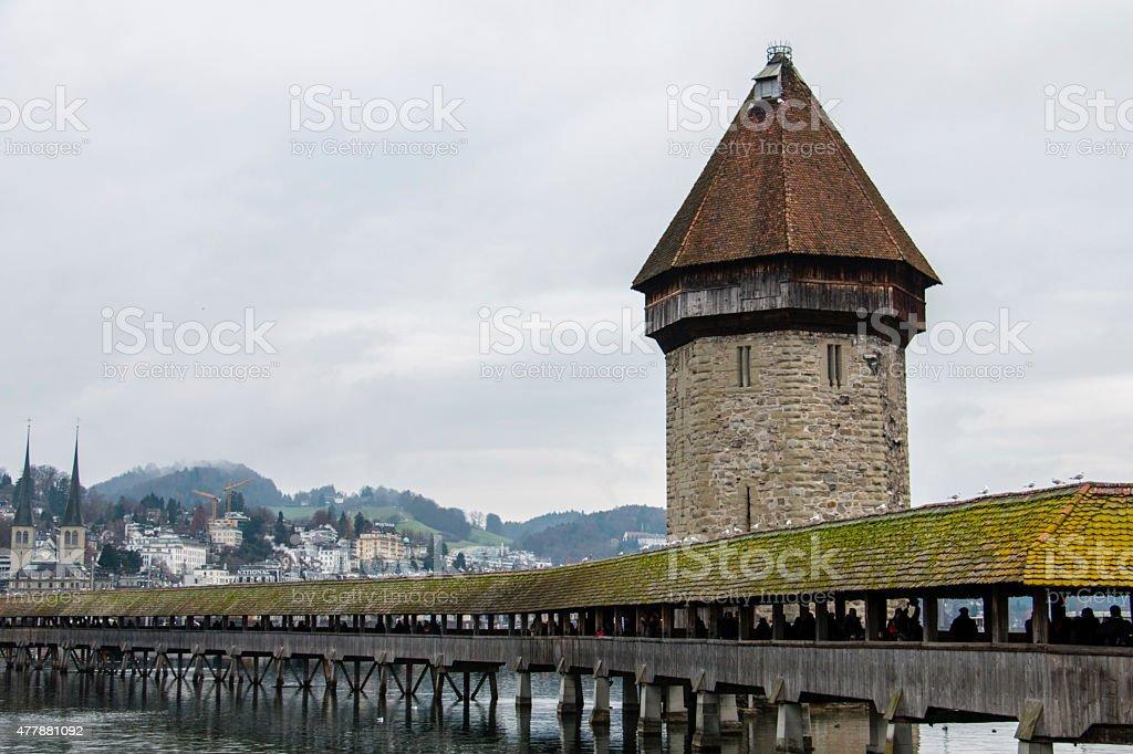 View across medieval bridge in Lucern stock photo