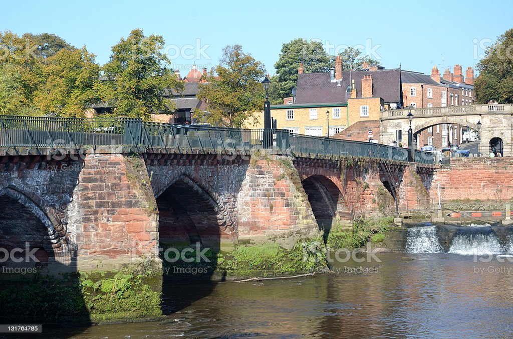 View Across Roman Old Dee Bridge In Chester royalty-free stock photo
