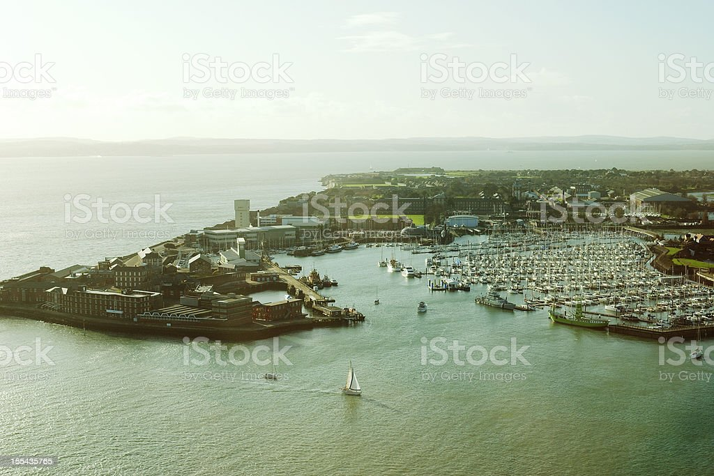 View across Solent to Isle of Wight stock photo