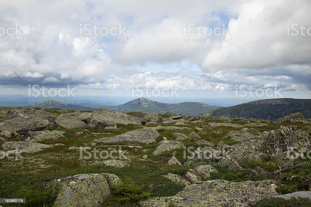 View across tableland to North Brother Mt. stock photo