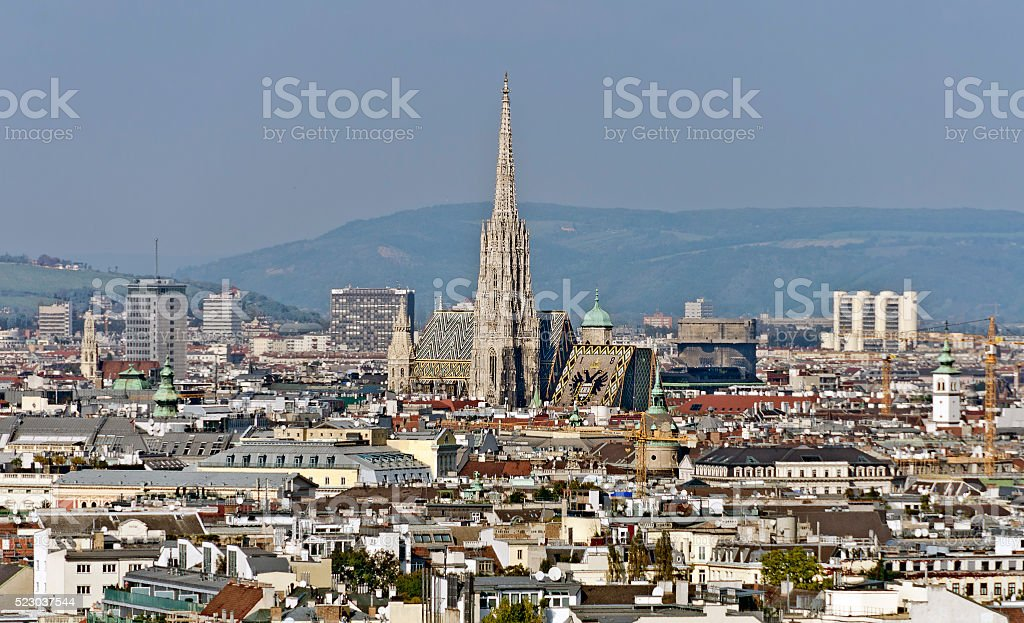 View across the city of Vienna stock photo