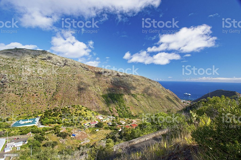 View across the countryside, St Helena Island. stock photo