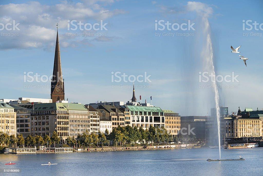 View across the Inner Alster Lake in Hamburg stock photo