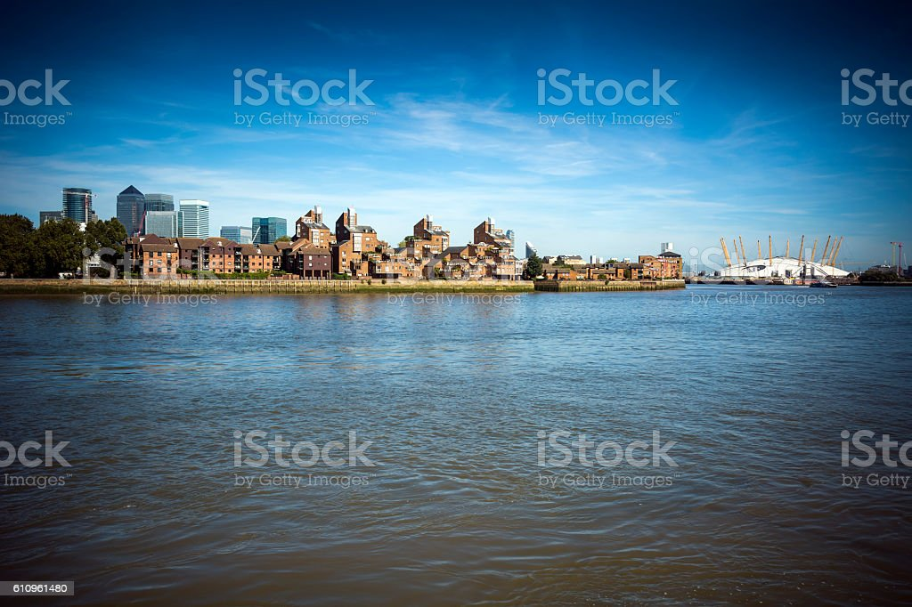 View across the Thames at Greenwich stock photo