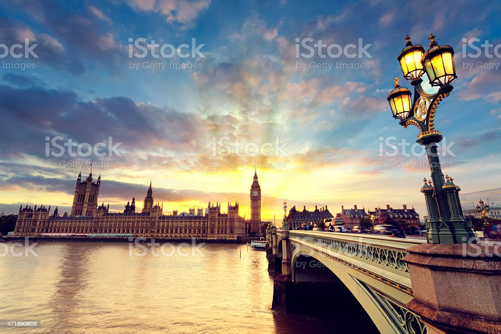 View across the Thames of Westminster at sunset stock photo