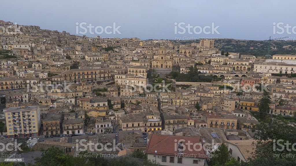 View across to Modica, Sicily at unset royalty-free stock photo