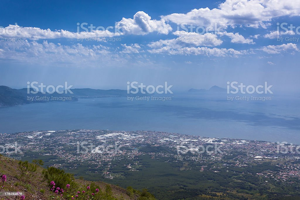 View across to Sorrento and Capri from the Vesuvius Summit stock photo