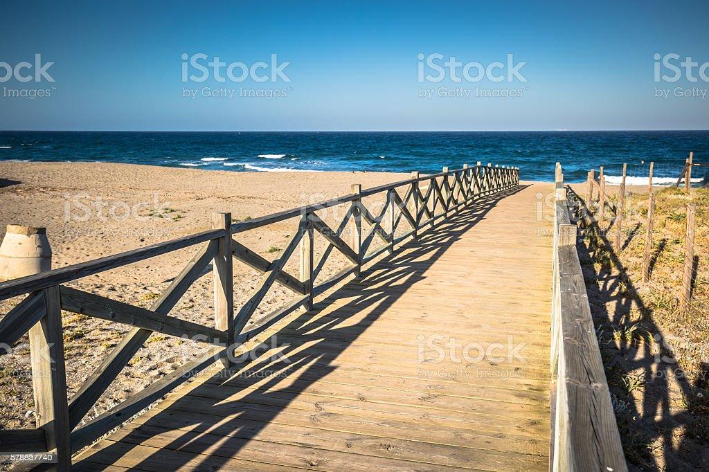 View across wooden footbridge, La Linea de la Concepcion, Costa stock photo