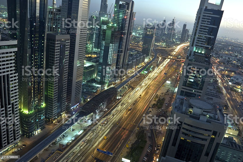 View along a motorway from the sky at night in Dubai royalty-free stock photo