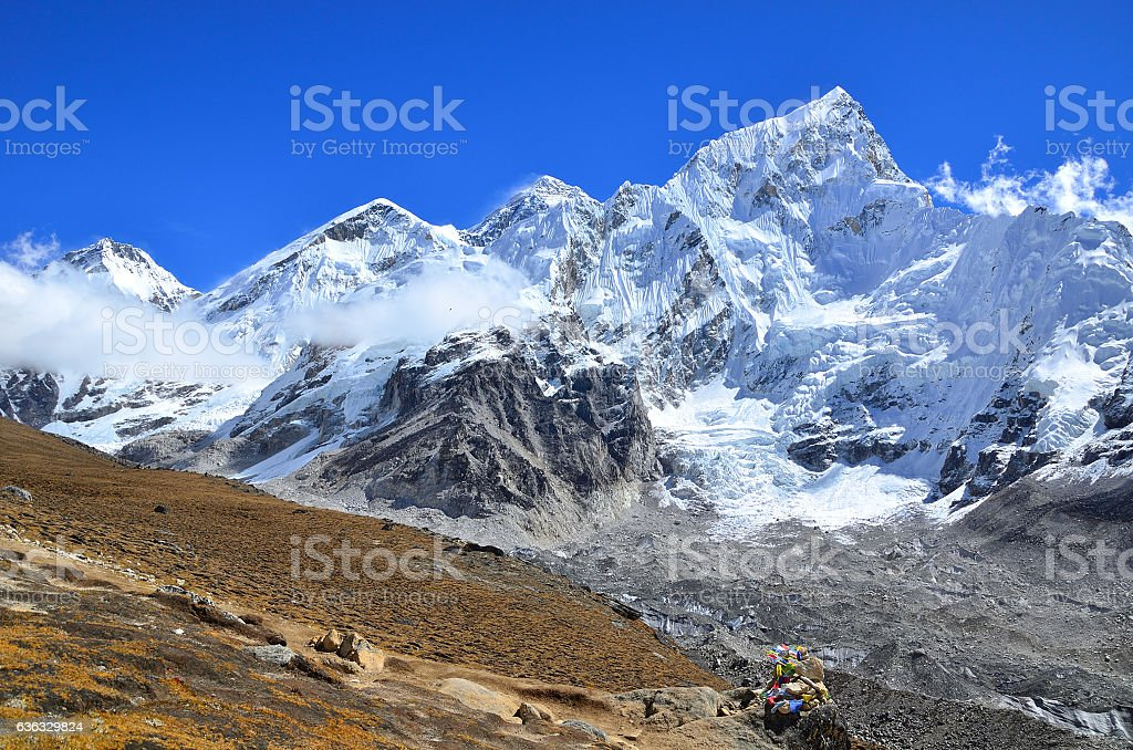View along Everest base camp trekking took from Kala Patthar stock photo