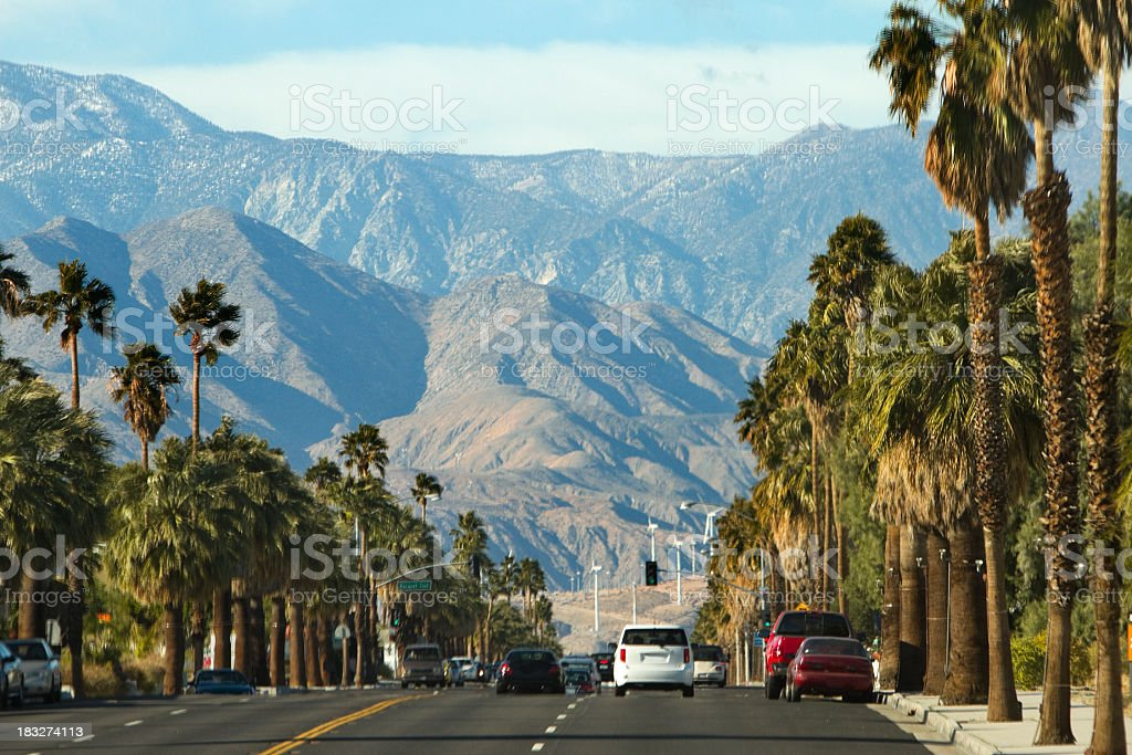 View along highway to mountains, Palm Springs, California stock photo