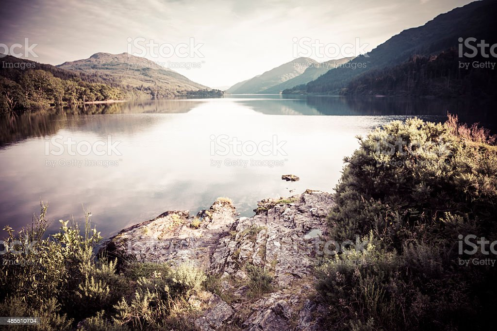View Along Loch Eck in Scotland stock photo