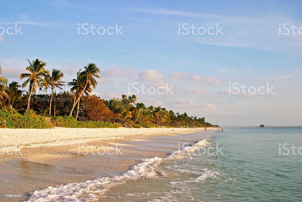 View along Naples beach from the Sea, lush greenery & sand stock photo
