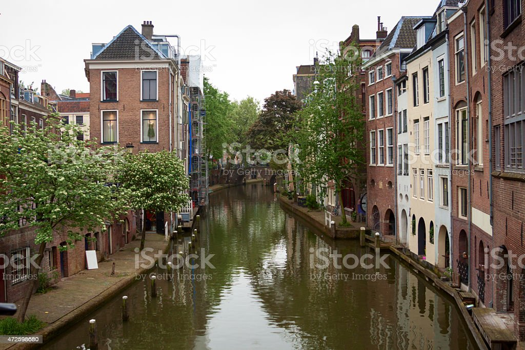View along Oudegracht canal in Utrecht the Netherlands stock photo