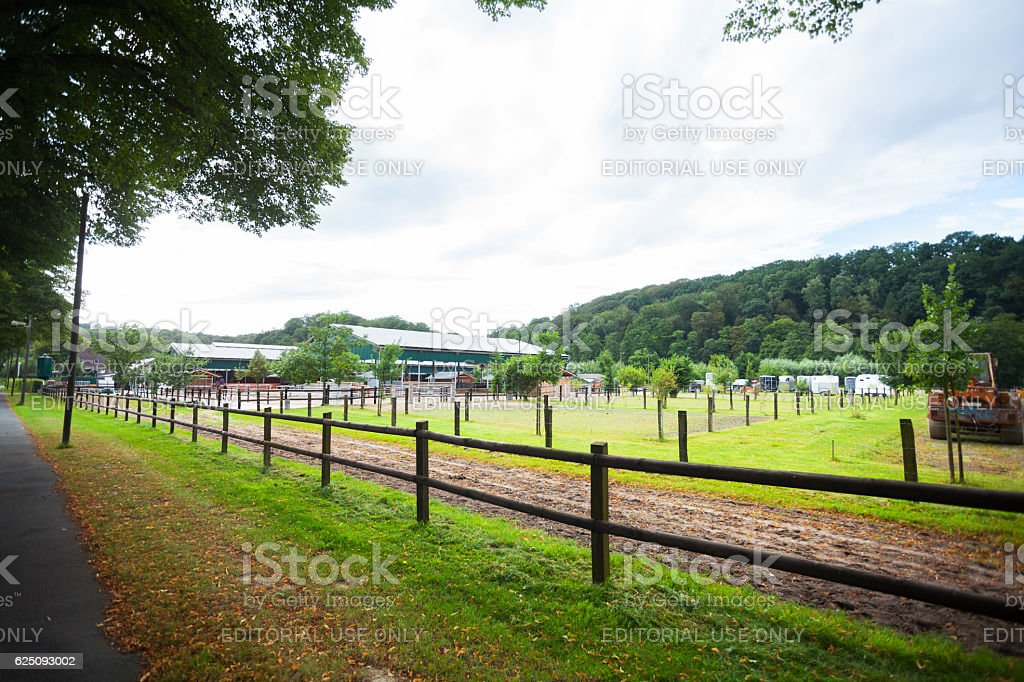 View along riding farm in Ruhrgebiet stock photo
