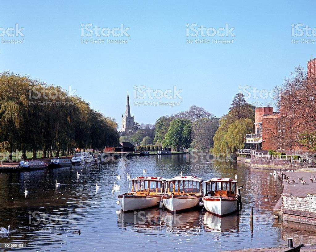 View along River Avon, Stratford-uopn-Avon. stock photo