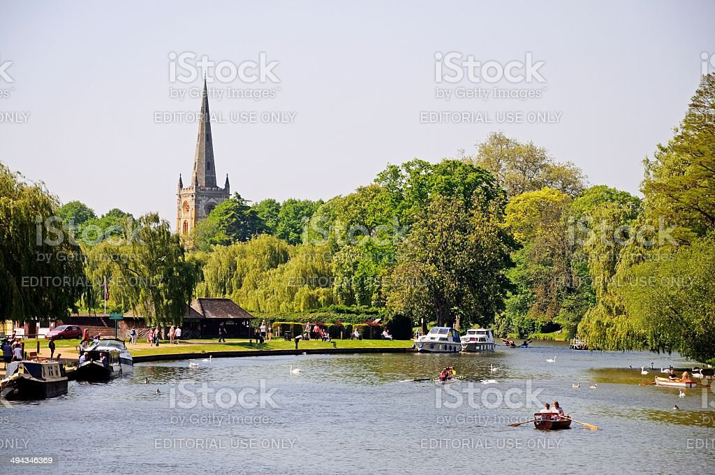 View along River, Stratford-upon-Avon. stock photo
