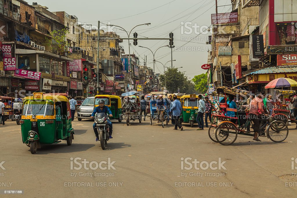 View along Streets of Delhi stock photo